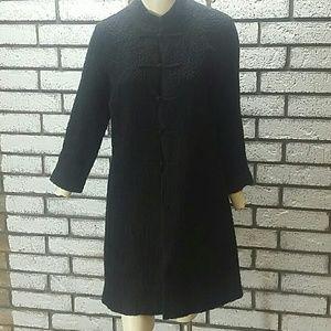 Eileen Fisher Black Jacket Size S Asian Knot Long